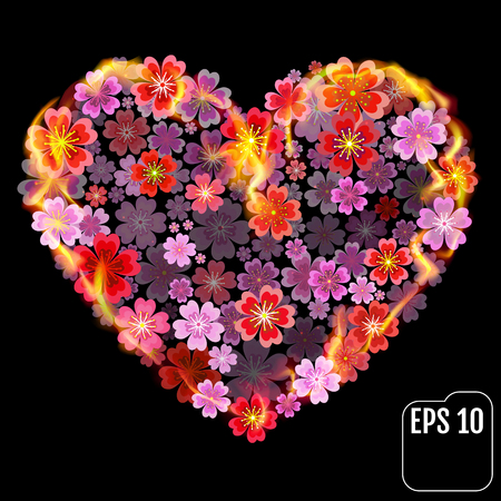 Flower heart in fire isolated on black background. Fire heart with flowers. 3d effect. Illustration