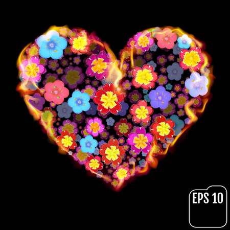 primula: Flower heart in fire isolated on black background. Fire heart with flowers. 3d effect. Illustration