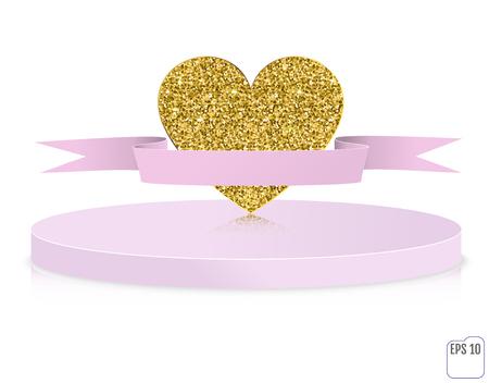 excitement: gold glitter heart on pedestal. Love concept card background Illustration