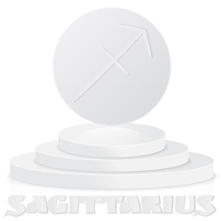 Vintage Thin Line Sagittarius Zodiac Sign Label Retro Vector