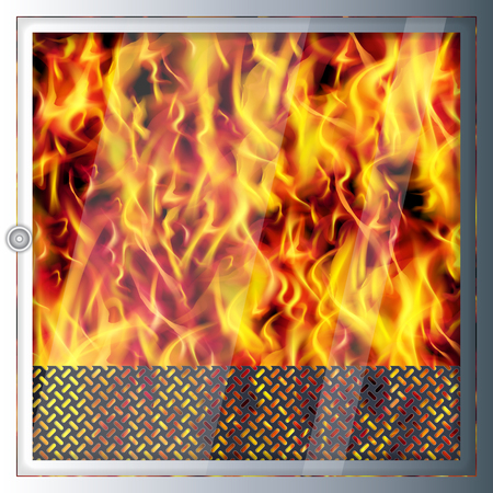 Modern realistic high-tech fireplace. Modern technologies and materials. Realistic flames and sparks. Illustration
