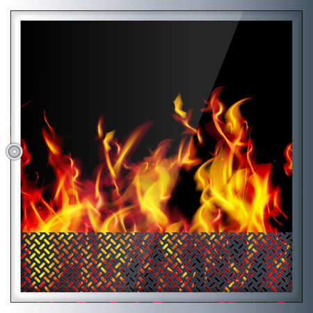 Modern realistic high-tech fireplace. Modern technologies and materials. Realistic flames and sparks. Light shade and 3D effect.