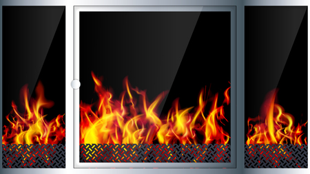 snug: Modern realistic Hi-tech fireplace made of modern materials with a burning flame inside. Realistic flames and sparks.3D effect. Vector illustration. Illustration