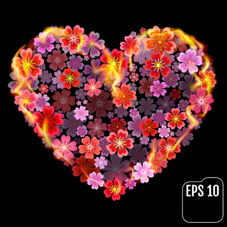Flower heart in fire isolated on black background. Fire heart with flowers. 3d effect. Vector illustration Illustration