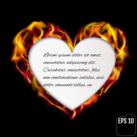 Flaming heart isolated on black background. Love symbol.Beautiful frame for text in the shape of heart