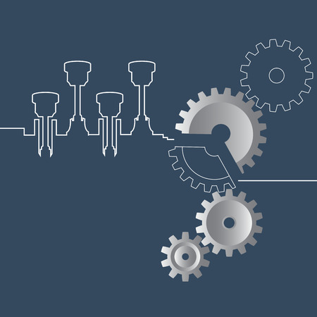 Abstract Vector illustration of gears and crankshaft on the blue background. Infographic template