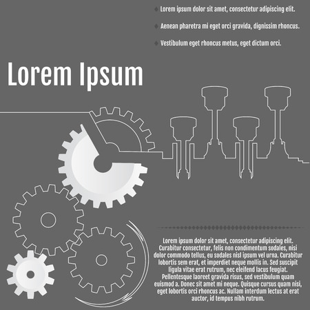Vector illustration of gears and crankshaft with arrow on the gray background. Retro style. Infographic vector template