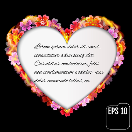 primula: Flower heart in fire isolated with text frame on black background. Fire heart with flowers and text frame. 3d effect. Vector illustration Illustration