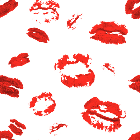 puckered: Vector seamless background. lips prints