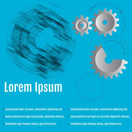Abstracte vectorillustratie van versnellingen met pijl op de blauwe achtergrond. Voor uw bedrijf. Infographic-sjabloon Stock Illustratie