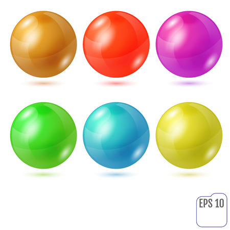 Set of six multicolored realistic colored spheres isolated on white background. Six design elements for your business