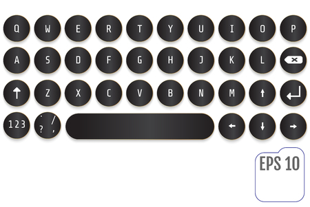 Black Modern keyboard design. Fashionable retro concept. Round keys. This keyboard is perfect for your business project.