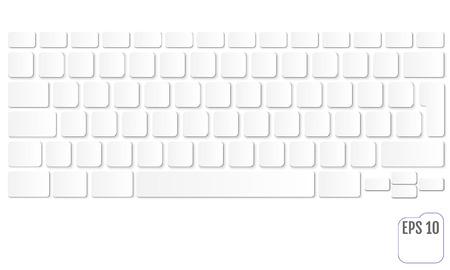 Vector illustration of white modern laptop keyboard, clean key concept