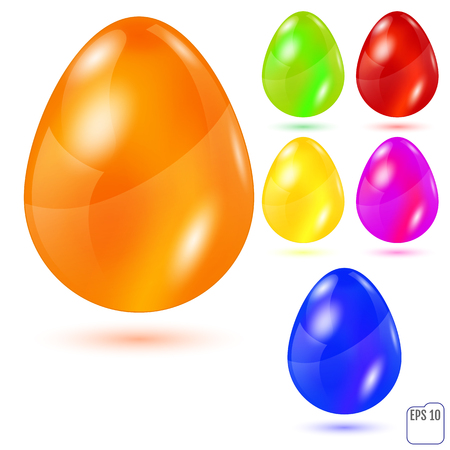 golden egg: Realistic colored glasses easter eggs on white background. Vector illustration