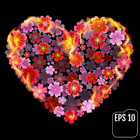 Sakura heart in fire isolated on black background. Fire heart with cherry flowers. 3d effect. Vector illustration