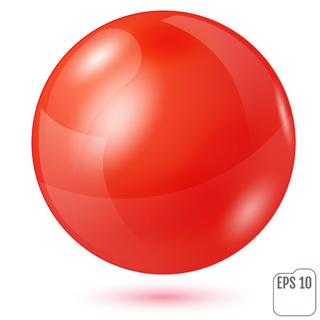 Illustration of red sphere isolated on white background. Vector illustration Illustration