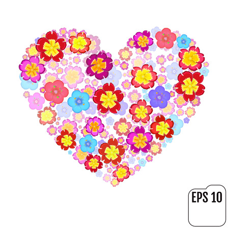 primula: Heart symbol made of flovers on white background with 3d effect