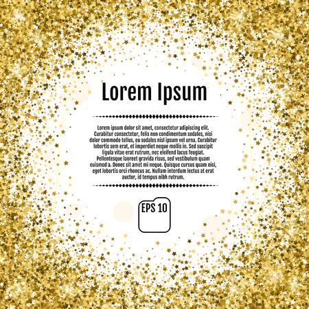 paillette: Round gold frame or border of random scatter golden stars on white background. Design element for festive banner, birthday and greeting card, postcard, wedding invitation. Vector illustration.