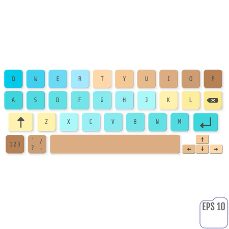 Modern realistic keyboard for smartphone or tablet PC with alphabet buttons. Vector modern keyboard. Concept for kids. For your business