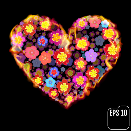 primula: Flower heart in fire isolated on black background. Fire heart with flowers. 3d effect. Vector illustration Illustration
