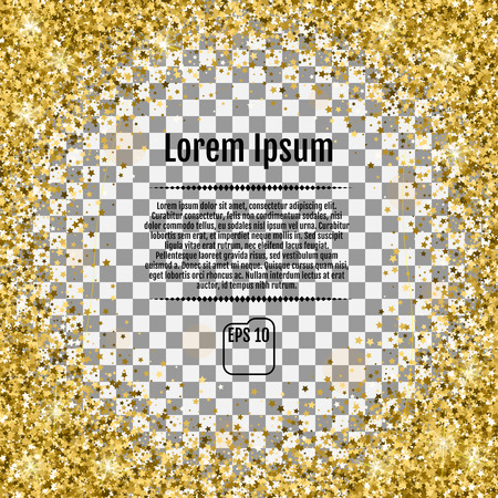 Round gold frame of random scatter golden stars on Transparent background. Design element for festive banner, birthday and greeting card, postcard, wedding invitation. Vector Illustration