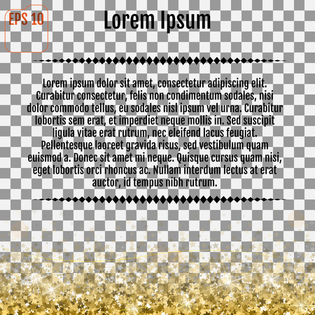 paillette: Abstract pattern of falling gold stars on white background. Glitter pattern for banner, greeting card, Christmas and New Year card, invitation, postcard, paper packaging. Vector illustration on a transparent background.