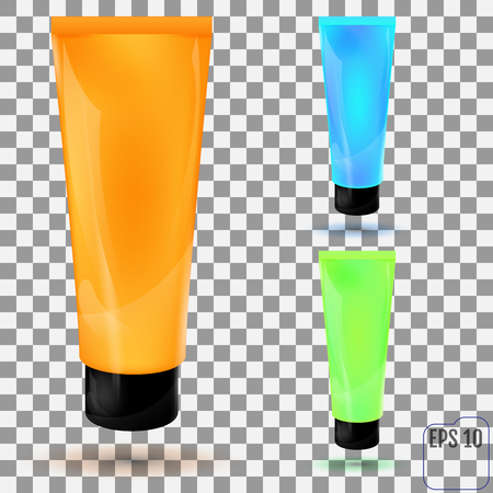 Cosmetic packaging, plastic tube on transparent background. Vector.
