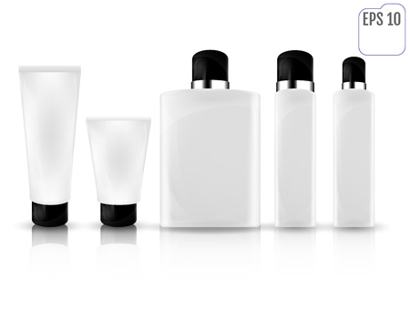 balsam: Realistic white cosmetic bottles on white background. Cosmetic cream tubes for cream, lotion, shampoo, gel, balsam, conditioner, spray. 3d Vector Illustration for you business