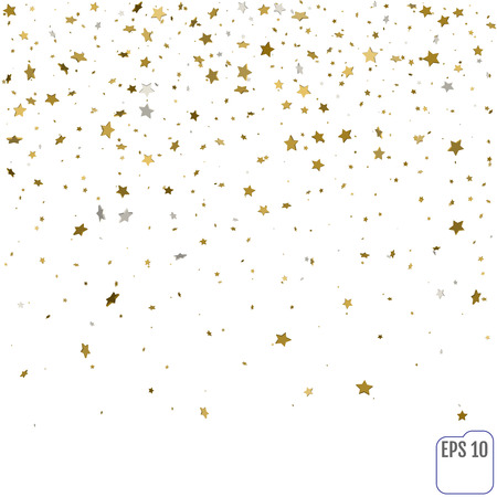 Golden stars are falling down. Vector