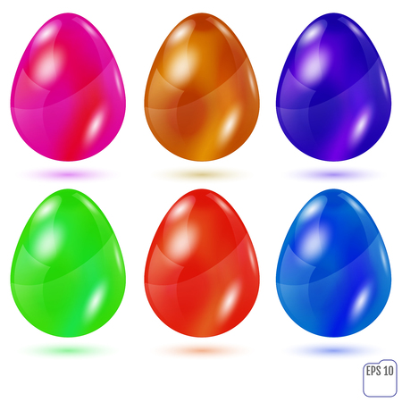 Realistic colored glasses easter eggs on white background. Vector illustration. For your business