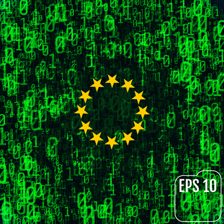 programming code: Abstract image of the flag of the European Union against the background of binary code. The world is under attack by hackers