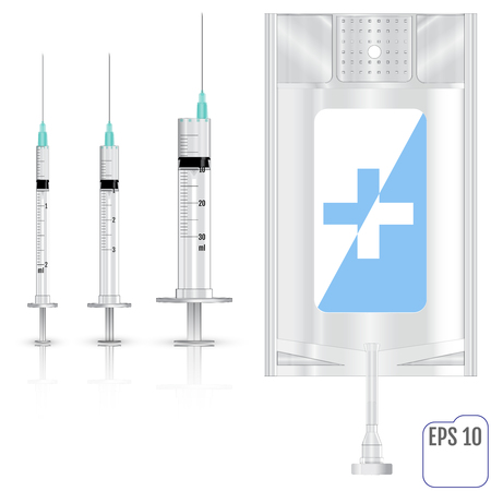 hydrate: Realistic Intravenous fluid and syringes. Vector illustration