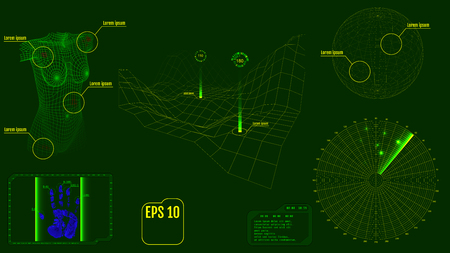 targets: Radar screen with Virus-infected body, planet, map, targets and futuristic user interface HUD. Green infographic elements. Zombie apocalypse concept. Vector. Illustration