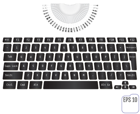 Modern typewriter with laptop keyboard Concept of technology progress