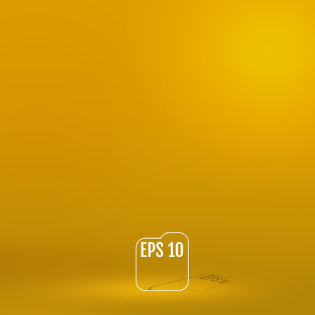 Template for display or montage of product. Empty yellow color studio room background. Business backdrop. Material design concept. Vector illustration.