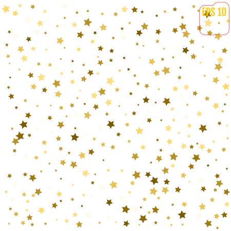 paillette: Random falling gold stars on white background. Glitter pattern for banner, greeting card, Christmas and New Year card, invitation, postcard, paper packaging. Vector illustration