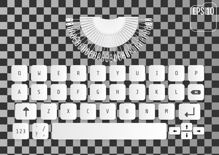 aluminium: Modern realistic keyboard for smartphone or tablet PC with alphabet buttons. Vector illustration of white modern keyboard with elements of typewriter. Stylized for your business. Illustration