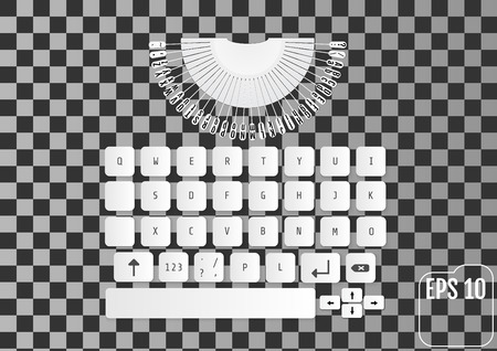vintage telephone: Modern realistic keyboard for smartphone or tablet PC with alphabet buttons. Vector laptop keyboard with elements of typewriter. Stylized for your business. New concept.