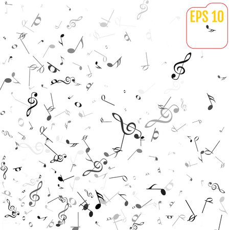 Vector Falling Notes Background. Frame of Treble Clefs, Bass Clefs and Musical Notes. Black Musical Symbols of Different Size on White Background Illustration