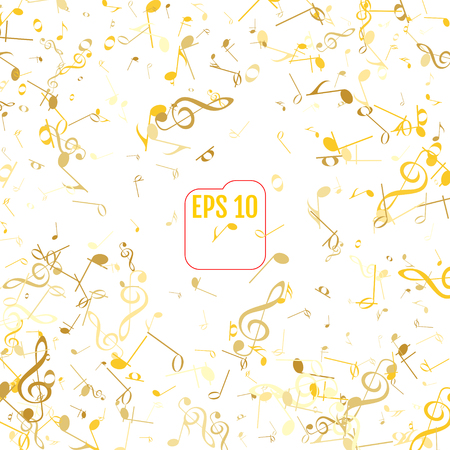 size: Vector Falling Notes Background. Frame of Treble Clefs, Bass Clefs and Musical Notes. Gold Musical Symbols of Different Size on White Background