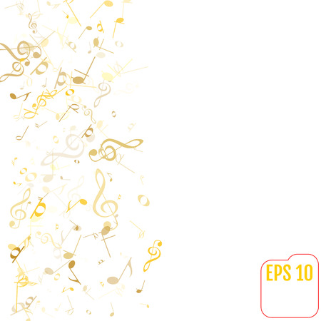 Vector Falling Notes Background. Frame of Treble Clefs, Bass Clefs and Musical Notes. Gold Musical Symbols of Different Size on White Background