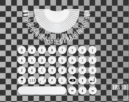 Modern keyboard design. Fashionable retro concept. Round keys. Vector illustration of white modern laptop keyboard with elements of typewriter. Stylized for your business. Illustration