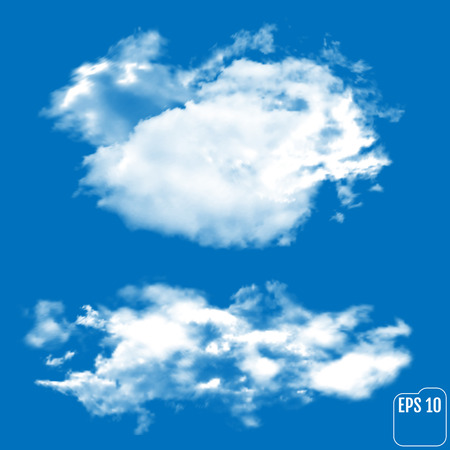 Two realistic clouds on a sky-blue background. Vector illustration