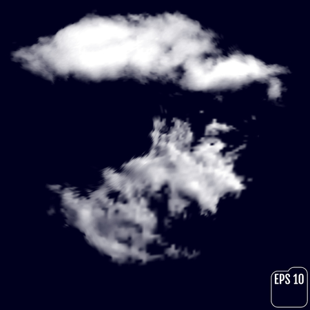 terrible: Wonderful realistic thunderclouds on the background of the night sky. Vector illustration Illustration