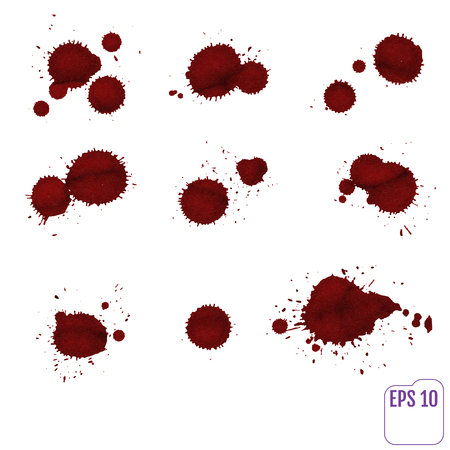 Dripping blood isolated on white. Vector Set of different blood splashes, drops and paint splatters. Dripping blood seamless repeatable. Halloween concept : Blood dripping. Blood on white background.