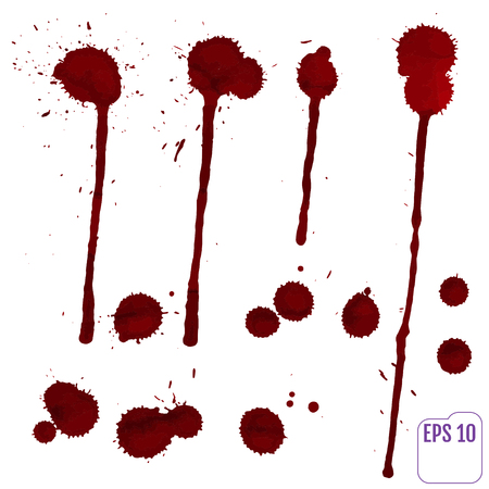 Blood drip. Vector red Ink stain, blots and splashes. Isolated Realistic paint drops, design elements. Illustration