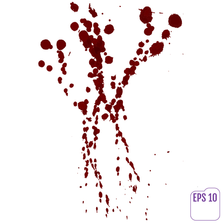 bleed: Blood drip. Vector red Ink stain, blots and splashes. Isolated Realistic paint drops, design elements. Illustration