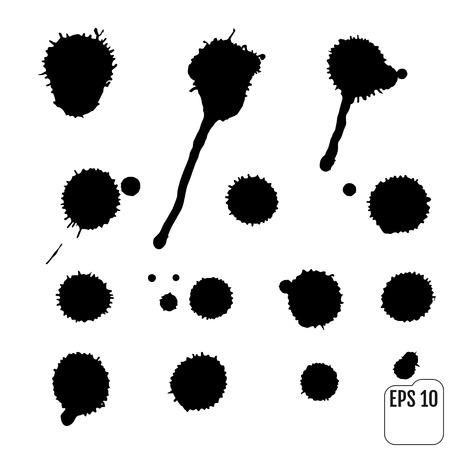 Set van zwarte vlekken op de witte achtergrond. Inktvlekken.