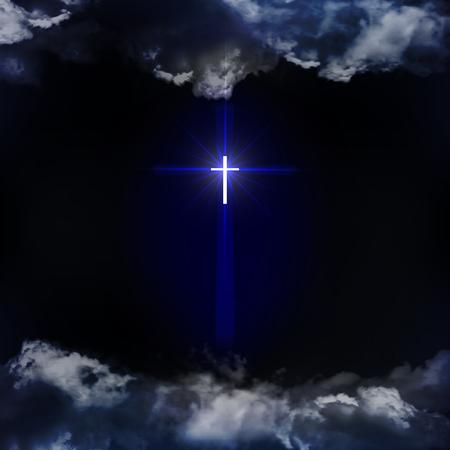 기독교 십자가. 기독교 종교의 상징입니다. 상징은 밤하늘에 구름을 통해 보입니다. 벡터