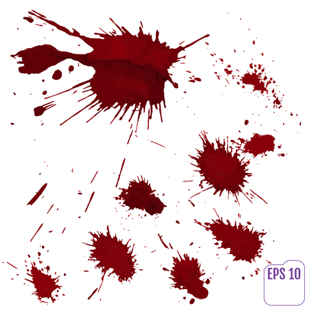 indy: Blood splatter or stain splashed with red  paint isolated on white background for abstract fun wall decoration, top view.